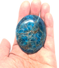 Load image into Gallery viewer, Blue Apatite Palm Stone from Madagascar 104g FREE SHIPPING
