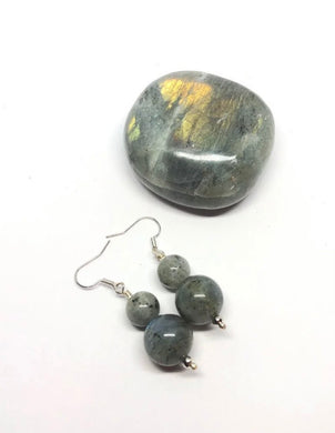 Labradorite Palm Stone & Handmade Earrings Set from Madagascar FREE SHIPPING