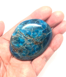 Blue Apatite Palm Stone from Madagascar 104g FREE SHIPPING