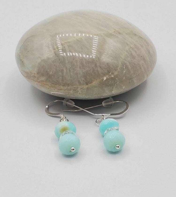 Peruvian Blue Opal .925 Hand Stamped Sterling Silver Handmade Earrings FREE SHIPPING