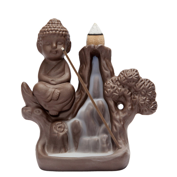 Waterfall Bonsai Buddha Incense Burner
