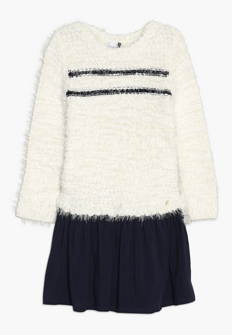 White Navy Sweater Dress
