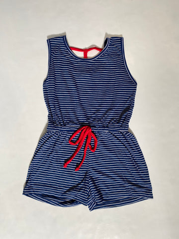 Navy Mini Stripe romper