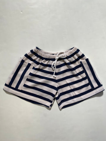 Navy White Stripe Terry Shorts