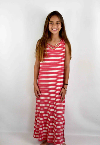 Coral Ivory Stripe Maxi Dress