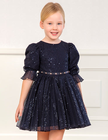 Navy Sequin Tulle Dress