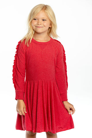 Rouge Ruffle Raglan Sweatshirt Dress
