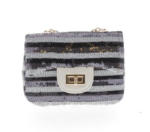 Striped Sequin Mini Purse