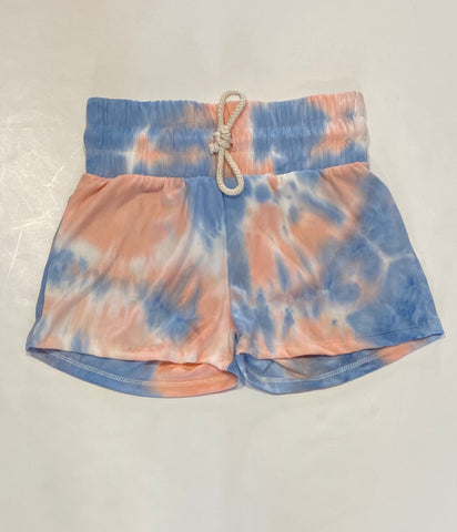 Pink & Blue Ribbed Tie Dye Shorts