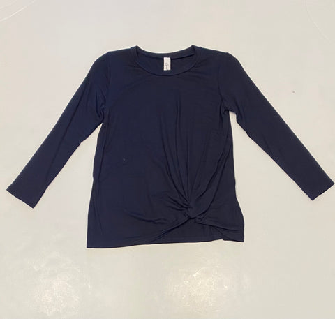 Navy Twisted Knot L/S Top