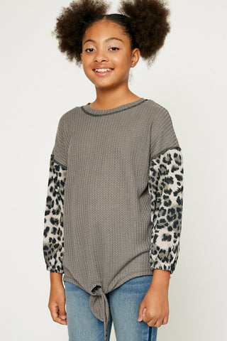 Animal Print Sleeve Tie Front Top