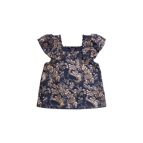 Navy and Gold Printed Top