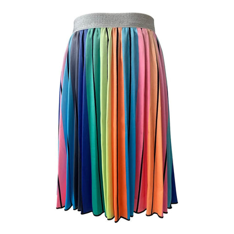 Rainbow Stripe Midi Skirt
