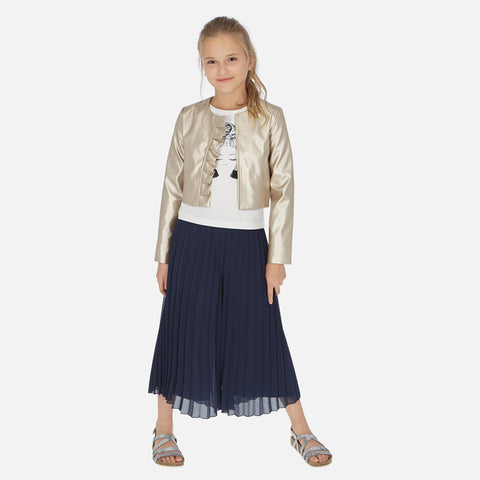 Navy Gaucho Pleated Pants