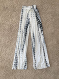 Slit Pant Grey Black White Stripe Dye