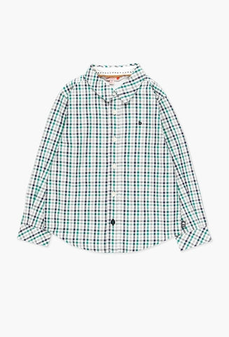 Green & Navy Poplin Check