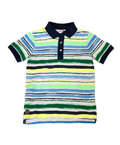 Knit Stripe Polo Navy/Green