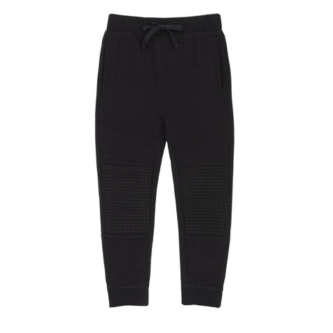 Black Jogger Pants With Quilted Knee