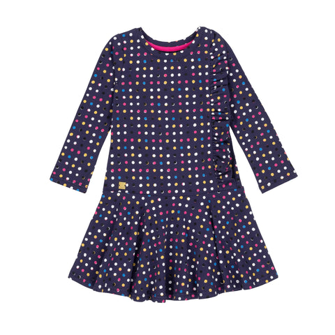 Dot Dress With Side Ruffle