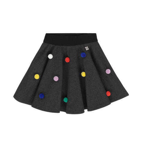 Black Herringbone Skirt With Pompoms