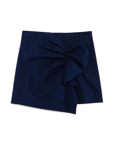 Navy Gathered Skort