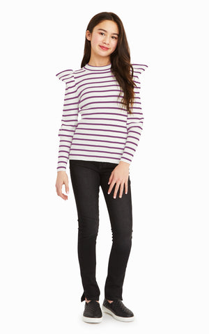 Plum Stripe Puff Sleeve