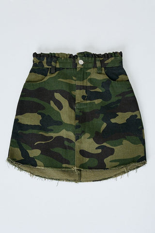 Paperbag Camo Denim Skirt