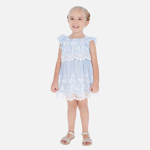 Blue & White Embr Poplin Dress