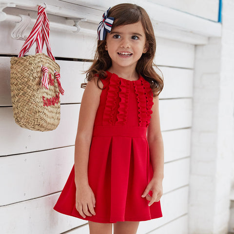 Red Knit Sleeve Dress