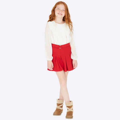 Red Crepe Skirt