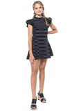Stripe Layered Rufflle Mini Dress