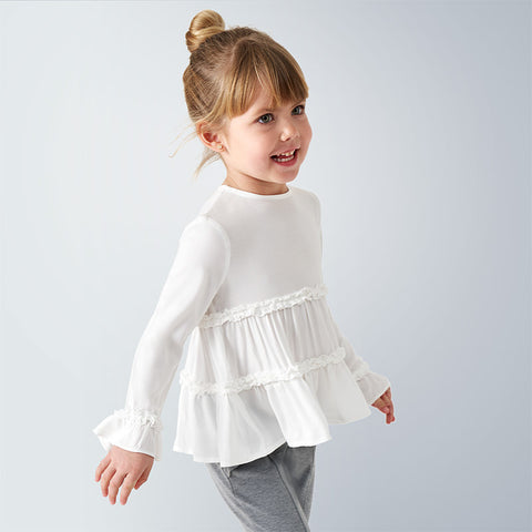 Natural White Ruffle Blouse
