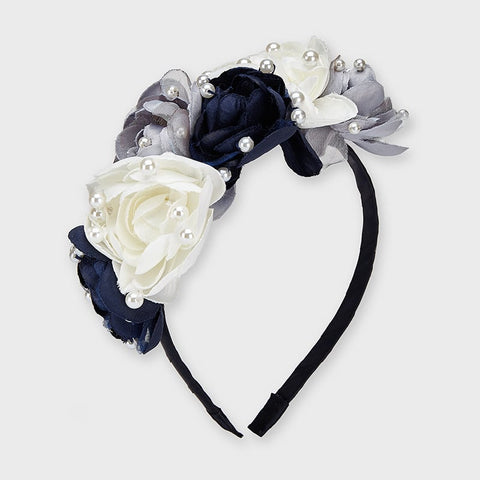 Navy Flowers and pearls headband