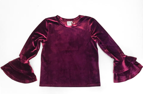 Bell Sleeve Velvet Top