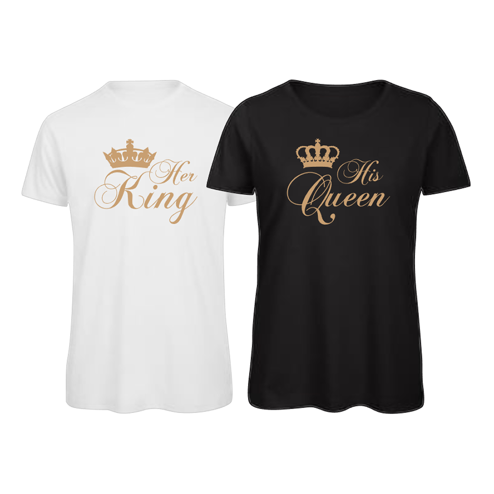 His Queen, Her King Matching Couples T-Shirt Tops Tee