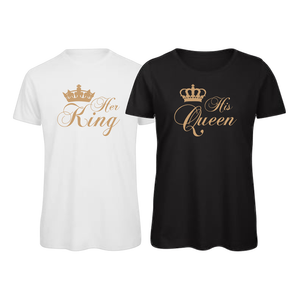 Open image in slideshow, His Queen, Her King Matching Couples T-Shirt Tops Tee