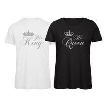 Load image into Gallery viewer, His Queen, Her King Matching Couples T-Shirt Tops Tee