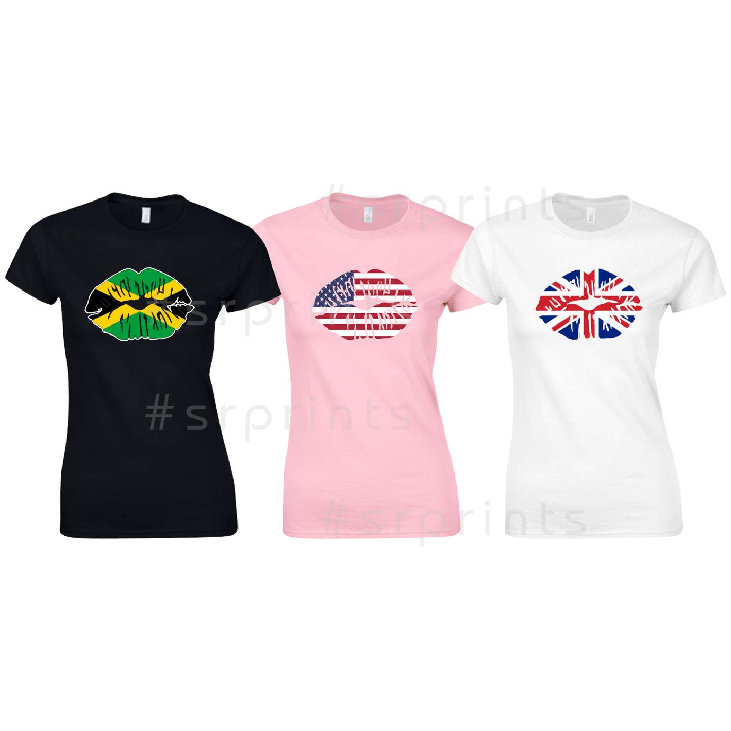 Flag Kiss Lips Women's fitted T-Shirt