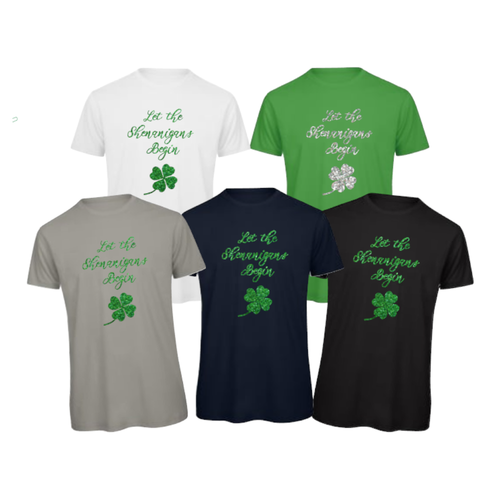 Let the shenanigans begin Glitter Printed St Patrick's Day Unisex T-Shirts