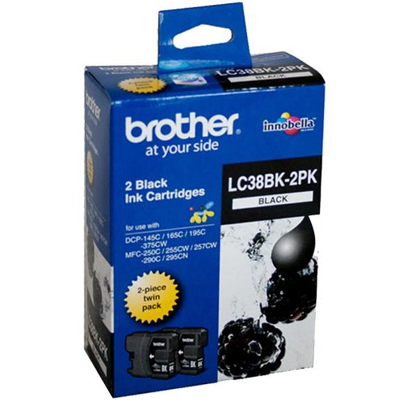 Brother LC-38 Black Ink Cartridge Twin Pack LC-38BK2PK