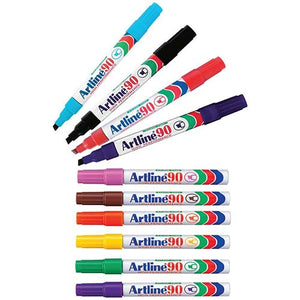 Artline 90 Permanent Marker 12 Pack Assorted Colours