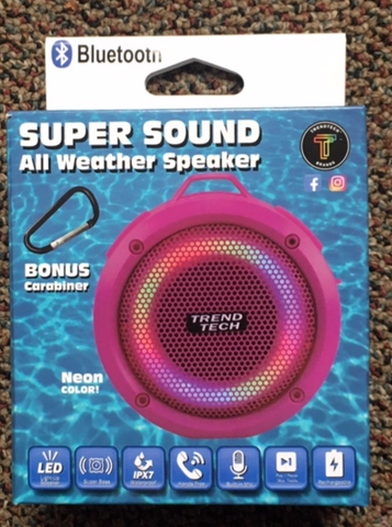 Bluetooth Speaker - All Weather Super Sound - Neon Pink