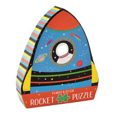 12 Piece Shaped Jigsaw Puzzle - Rocket