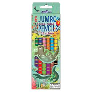 6 Jumbo Double-Sided Pencils - 12 colors - Otters at Play