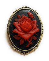 Red and Black Rose Brooch