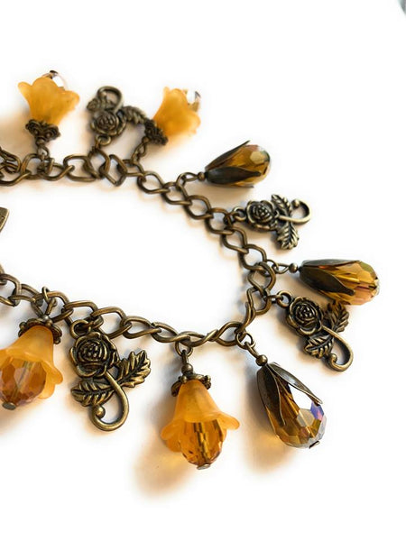 Orange Flowers and Crystals Charm Bracelet