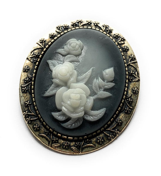 White and Blue Rose Brooch
