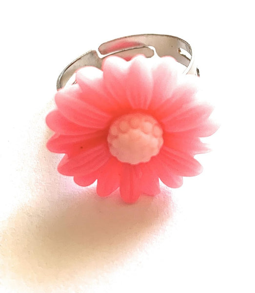 Pink Sunflower Adjustable Ring