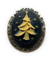 White and Blue Christmas Tree Brooch