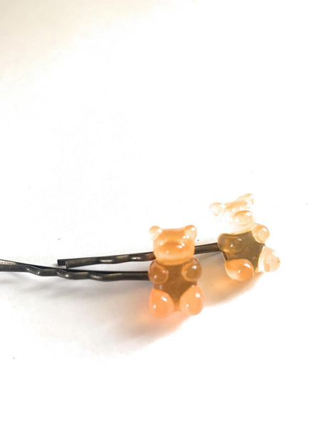 Orange Teddy Bear Hairpins